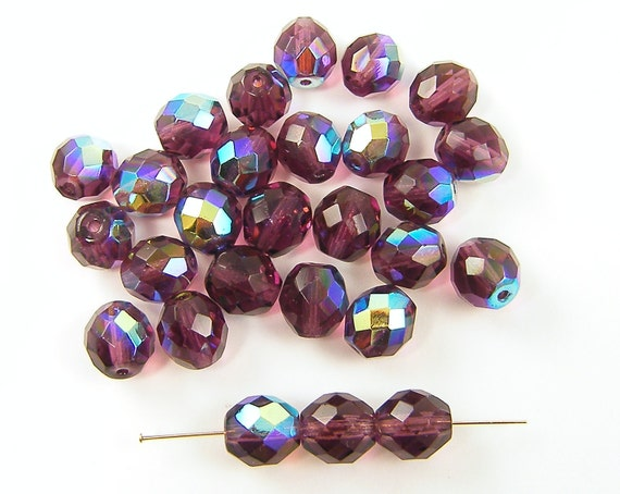 Purple Beads, Purple Glass Beads, 10mm Purple Faceted Round AB Beads