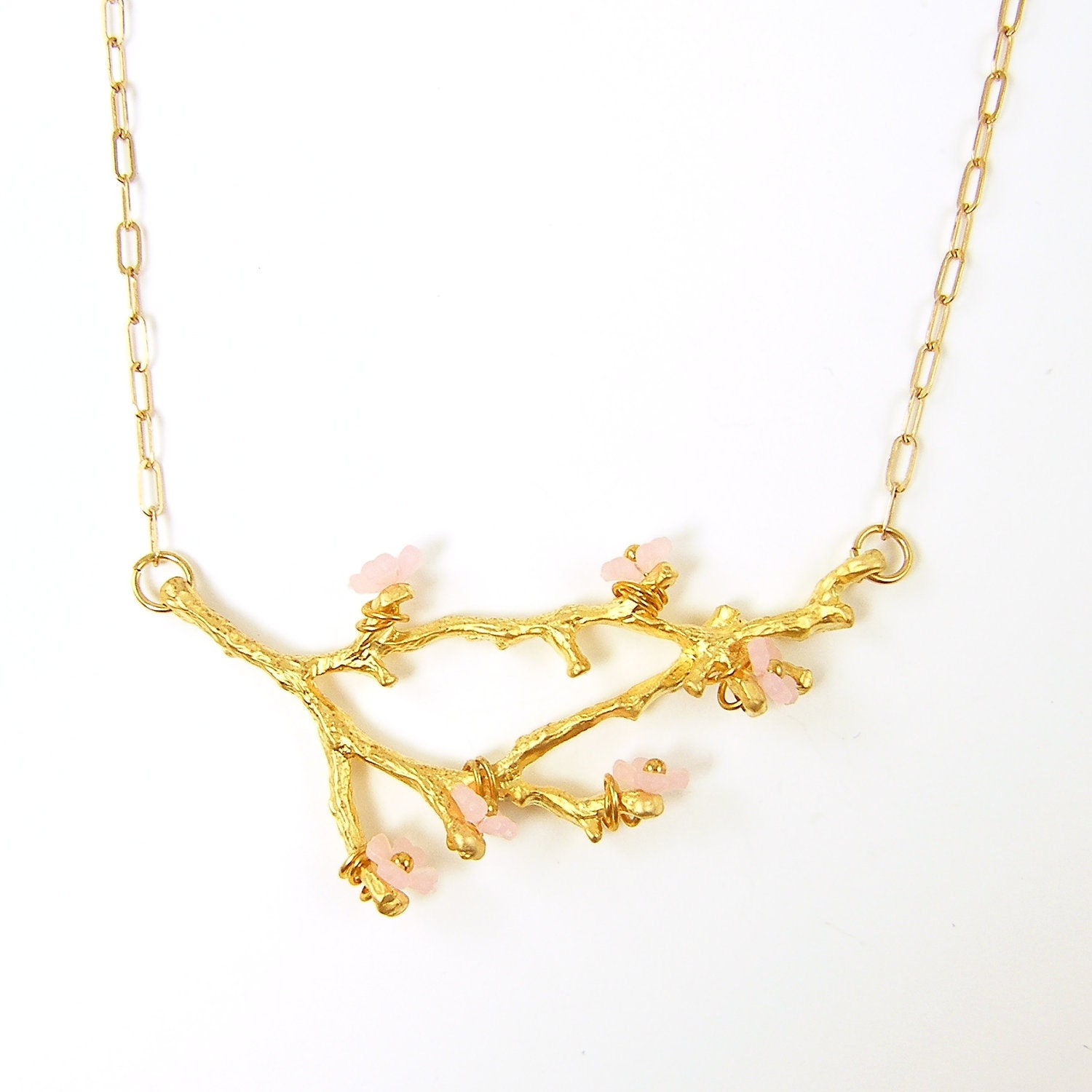 pink jewelry cherry blossom gold tree branch necklace flower