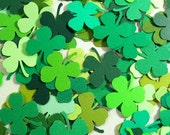 St Patrick's Day Shamrocks - 100 Die Cut Shamrock Embellishments - Lucky Charms, Four Leaf Clovers