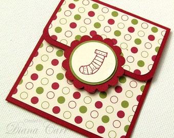 Christmas Gift Card Holder - Christmas Money Card - Holiday Tip Envelope - Christmas Bonus Card - Christmas Money Envelope - Stocking Design