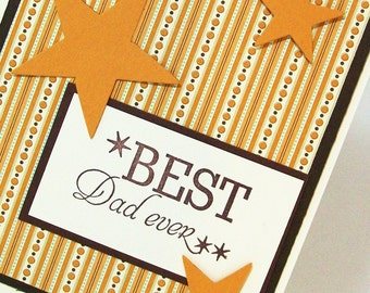 Fathers Day Card or Dad's Birthday Card -  Best Dad Ever Card - Hand Stamped Brown & Gold Dad Card
