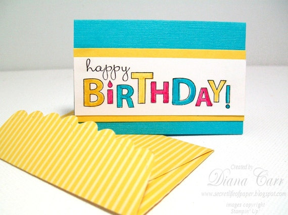 Mini Birthday Cards with Handmade Envelopes (Set of 4) - Gift Enclosures, Tags