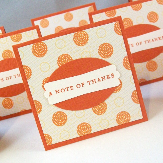 Mini Thank You Cards - Pack of 10 - Orange Polka Dots