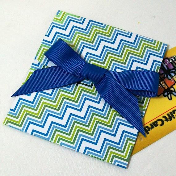 Handmade Gift Card Holder - Blue, Green Metallic Stripe - Graduation, Father's Day, Birthdays, Weddings, Teacher Gift