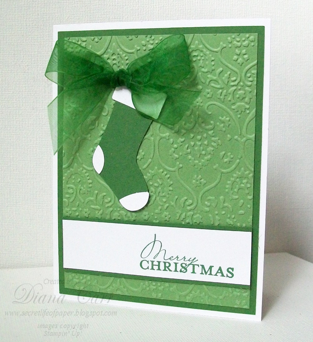 Items Similar To Handmade Christmas Card Elegant Green