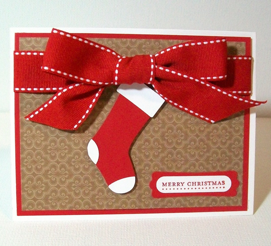 CLEARANCE SALE Handmade Christmas Card Red Stocking And