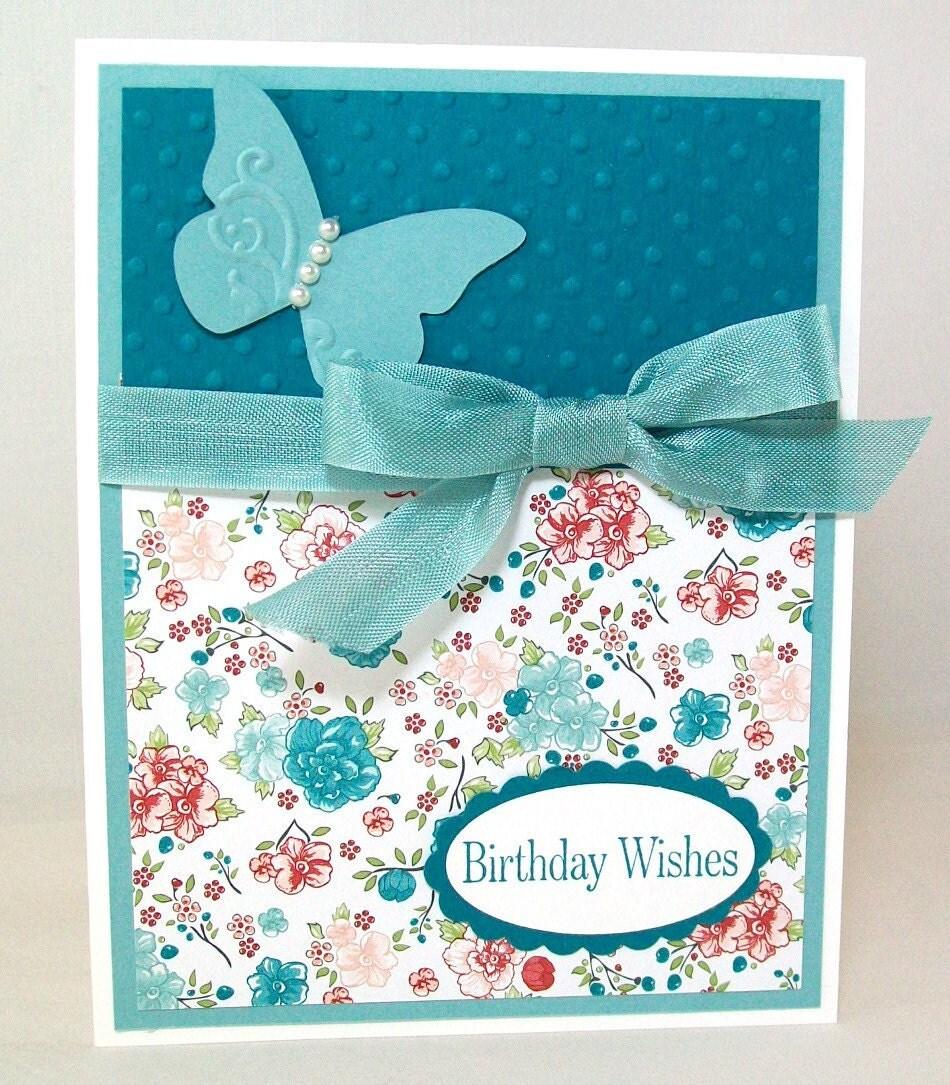 handmade birthday card pretty shabby chic hand stamped, Birthday card