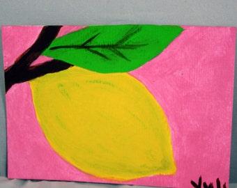 Lemon Branch Original Acrylic Painting ATC ACEO