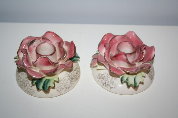 Vintage Pink Ceramic Flower Candlestick Pair