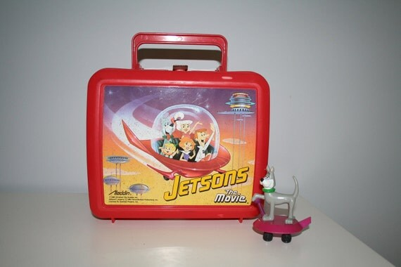 Vintage Jetsons Plastic Red Lunchbox with Astro Toy
