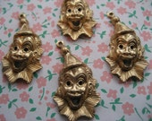 4 creepy little clown charms  approx. 15mm L