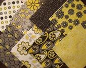 32 4 Inch Quilt Squares Blocks Kit Black, Gray, Yellow Floral