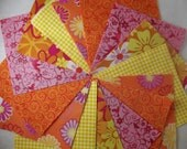 20 4 Inch Quilt Squares Blocks Kit Orange Pink Yellow Retro Flowers