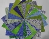 20 4 Inch Quilt Squares Blocks Variety  Green Blues Prints