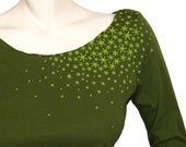 Japanese Star Moss - 3\/4 Sleeve Boatneck in Olive S-XL