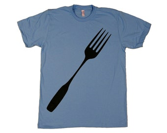 Gift for Dad, Mens Fork T-shirt, Foodie Tee in Baby Blue : Father's Day Gift, mens clothing, chef kitchen cook, cool tshirt, american made