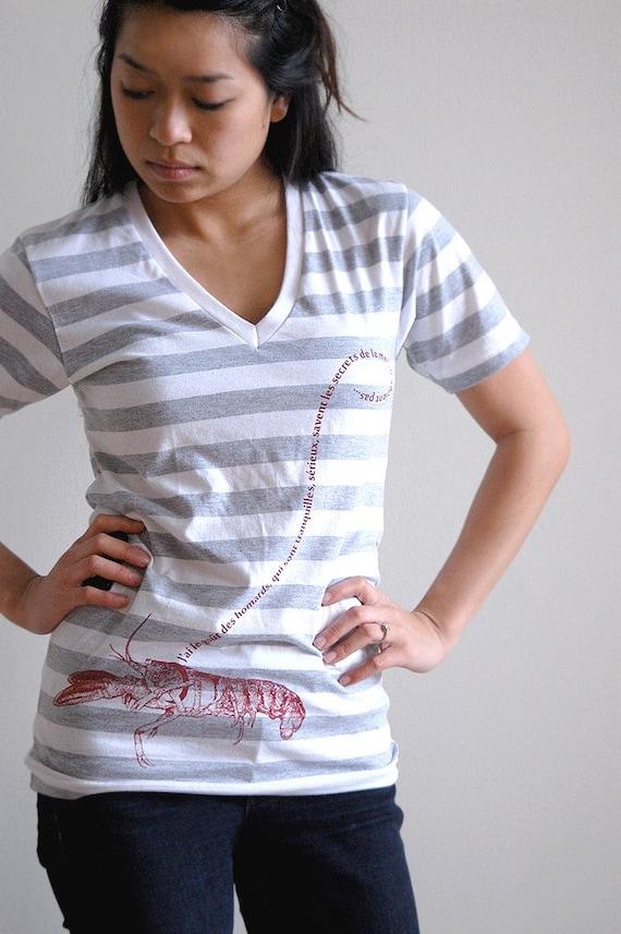Womens Tshirt - French Pet Lobster / Stripes / Unisex V neck Shirt in X-Small or Medium  : striped fashion clothing