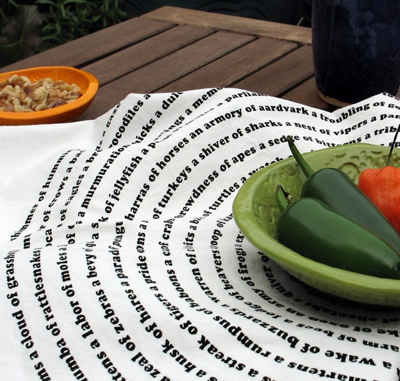 Modern Tea Towel with the Collective Animal Nouns Spiral : gift for grad or dad, gourmet chef