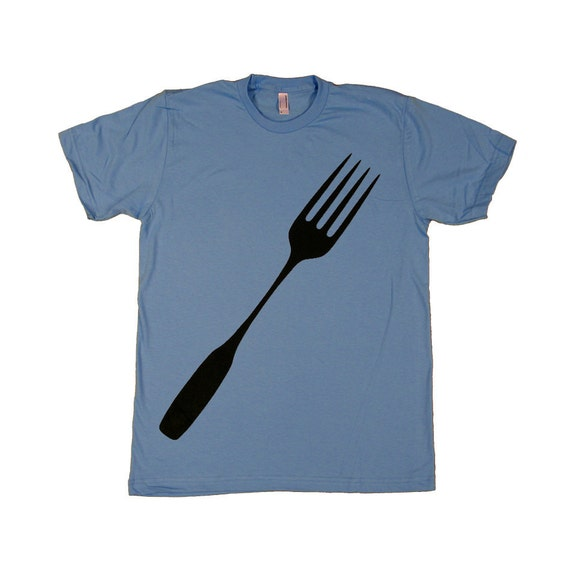 SALE Mens Fork T-shirt : back to school shirt, foodie gift for him, graphic tee, foodie chef kitchen cook tshirt america made, dad shirt