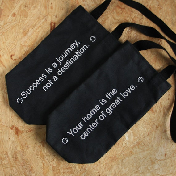 Set of Fortune Wine Bags : eco-friendly gift wrap / housewarming / hostess / wedding favor