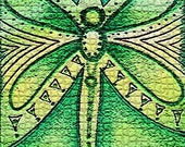 The Green Dragon flys  ACEO