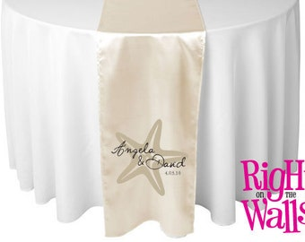 Personalized Wedding Table Runner - Custom Printed Beach Starfish Runner Satin Beach Theme Wedding Table Decor & Centerpiece