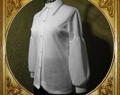 70s textured poet shirt. balloon sleeves. large collar. sz s.