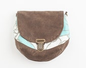 Vegan pouch convertible clutch hip bag in Turquoise Floral