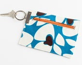 Swivel Key Ring Change Purse in Peacock Blue Floral Cotton Canvas