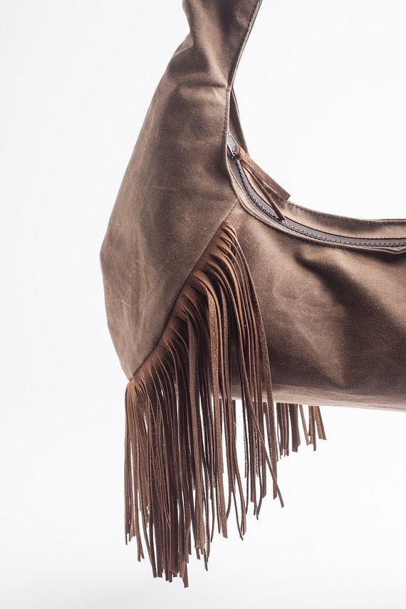 SALE 50% OFF Boho Vegan Hobo Faux Suede Fringe Waxed Canvas in Chocolate