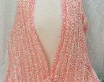 Elegant Taffy pink and cream shawl