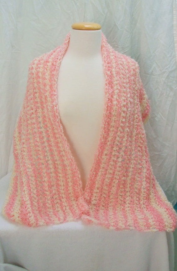 Elegant Taffy pink and cream shawl