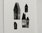 houses - gouache portrait - original artwork