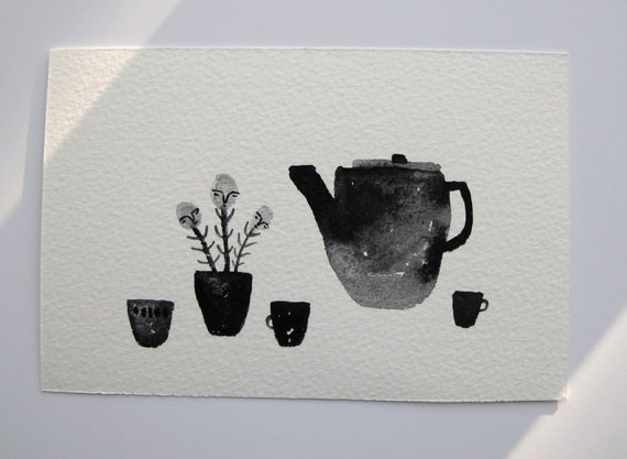 curious tea time - original gouache still life painting
