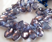 SALE- 3 Inch 1/2 Strand of Pretty Blue Mystic Quartz Mango Faceted Briolettes semi precious gemstone beads 7mmx12mm -10mmx14mm
