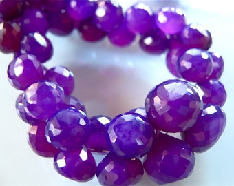 6 Pieces of VIBRANT GRAPE CHALCEDONY  Faceted Onion Briolettes 8mm - 11mm semi precious gemstone beads