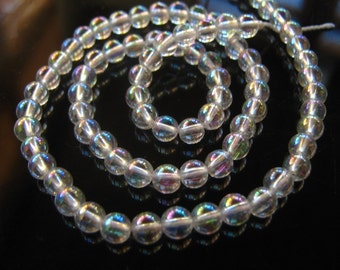 NEW- 1/2 Strand of Rainbow Mystic Crystal Smooth Round beads 5mm