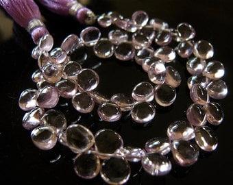 30% OFF NEW: 1/2 Strand of Pretty Pink Amethysy Smooth Heart Briolette Semi Precious Gemstone Beads 6mm-7mm