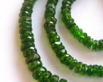 9 Inch Strand of Greenest Chrome Diopside Rondelles 3mm - 4.5mm Gemstone semi precious beads