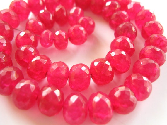 30% OFF NEW - 7 Inch 1/2 Strand of Chunky Large Fuschia Pink Quartz Faceted Rondelles semi precious gemstone beads  7mm - 10mm