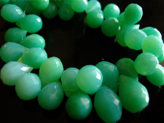 NEW- 3.5 Inch 1/2 Strand of Glowing AAA Peruvian Opal Chalcedony Faceted Teardrop Briolettes semi precious gemstone beads 9mm - 11mm