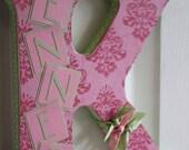 Custom Wall Letter - Pink Damask