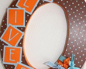 Custom Wall Letter - Brown, Blue, Orange Polka Dot - This Design, ANY LETTER, ANY name