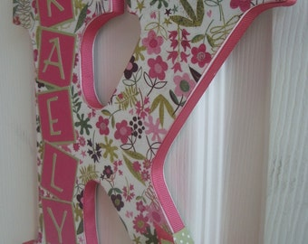 Custom Wall Letter - Pink and Green Flowers