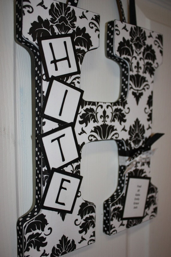 Custom Wall Letter - Black and White Damask  - This Design, Any Name, Any Letter