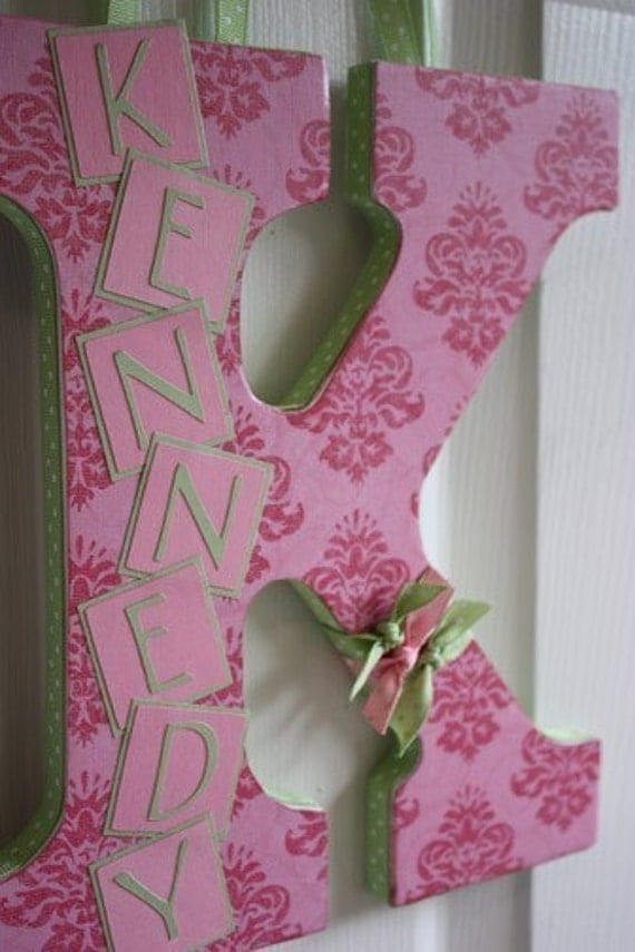 Custom Wall Letter - Pink Damask