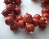 Red clusters - coral bracelet