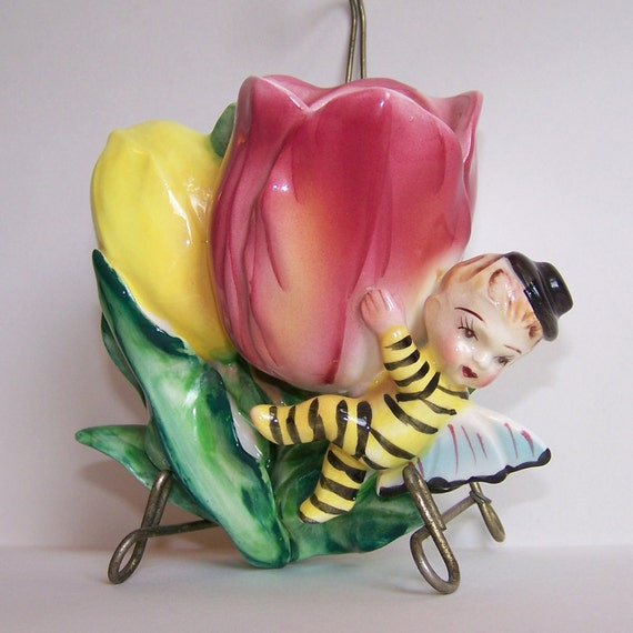 Vintage Anthropomorphic Bee and Tulip Wall Pocket by HF Co.