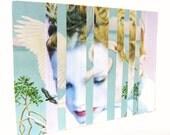 Blue Heron Girl. Original collage