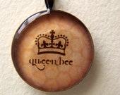S.A.L.E. -  Resin Picture Pendant - Antique Copper Queen Bee TEXT with Crown